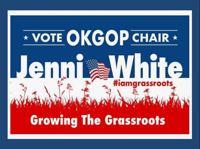 Jenni White OKGOP sign